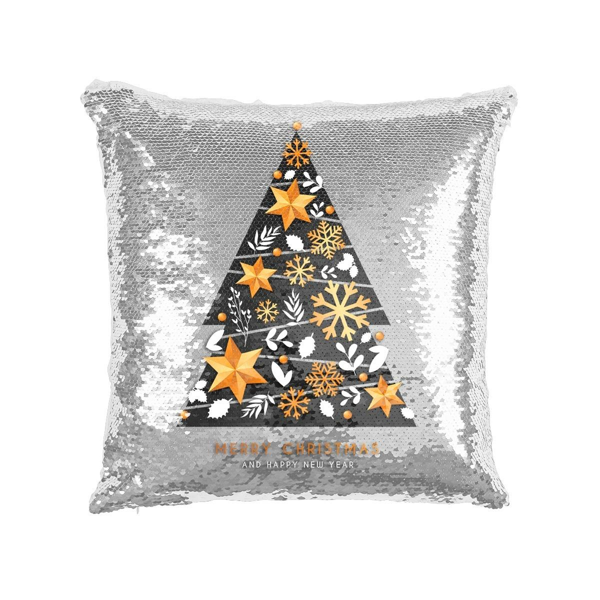 Domarex Vánoční povlak na polštářek s flitry Stromeček, 40 x 40 cm
