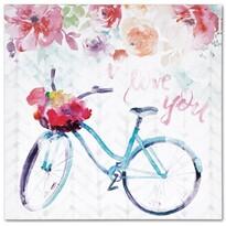 Pictură pe pânză Floral bicycle, 28 x 28 cm