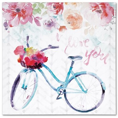 Obraz na plátne Floral bicycle, 28 x 28 cm