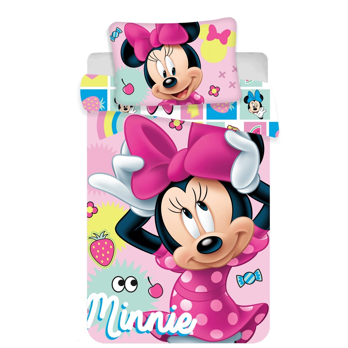 Jerry Fabrics Detské bavlnené obliečky do postieľky Minnie sweet 072, 100 x 135 cm, 40 x 60 cm