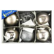 Vánoční koule mix pr. 10 cm, stříbrná