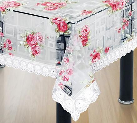 PVC ubrus s potiskem červené růže, 125 x 155 cm