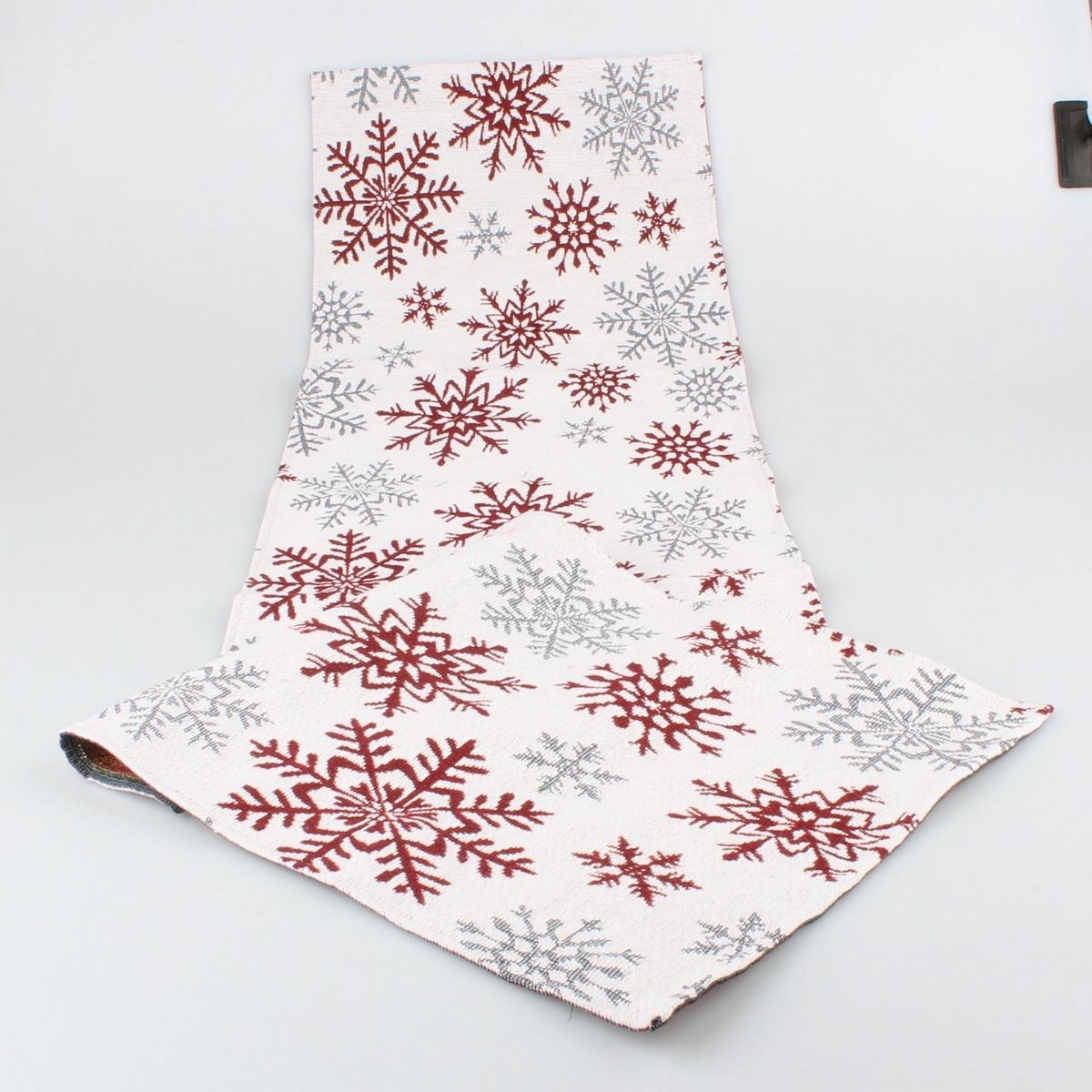 Dakls Vánoční běhoun Vločka červená, 32 x 140 cm