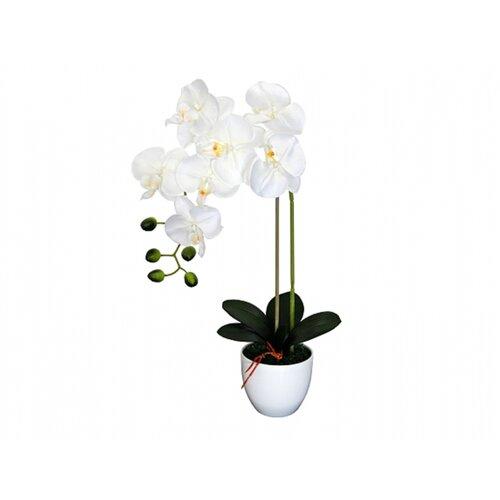 Umělá orchidej v květináči 7 květů, 55 cm, bílá