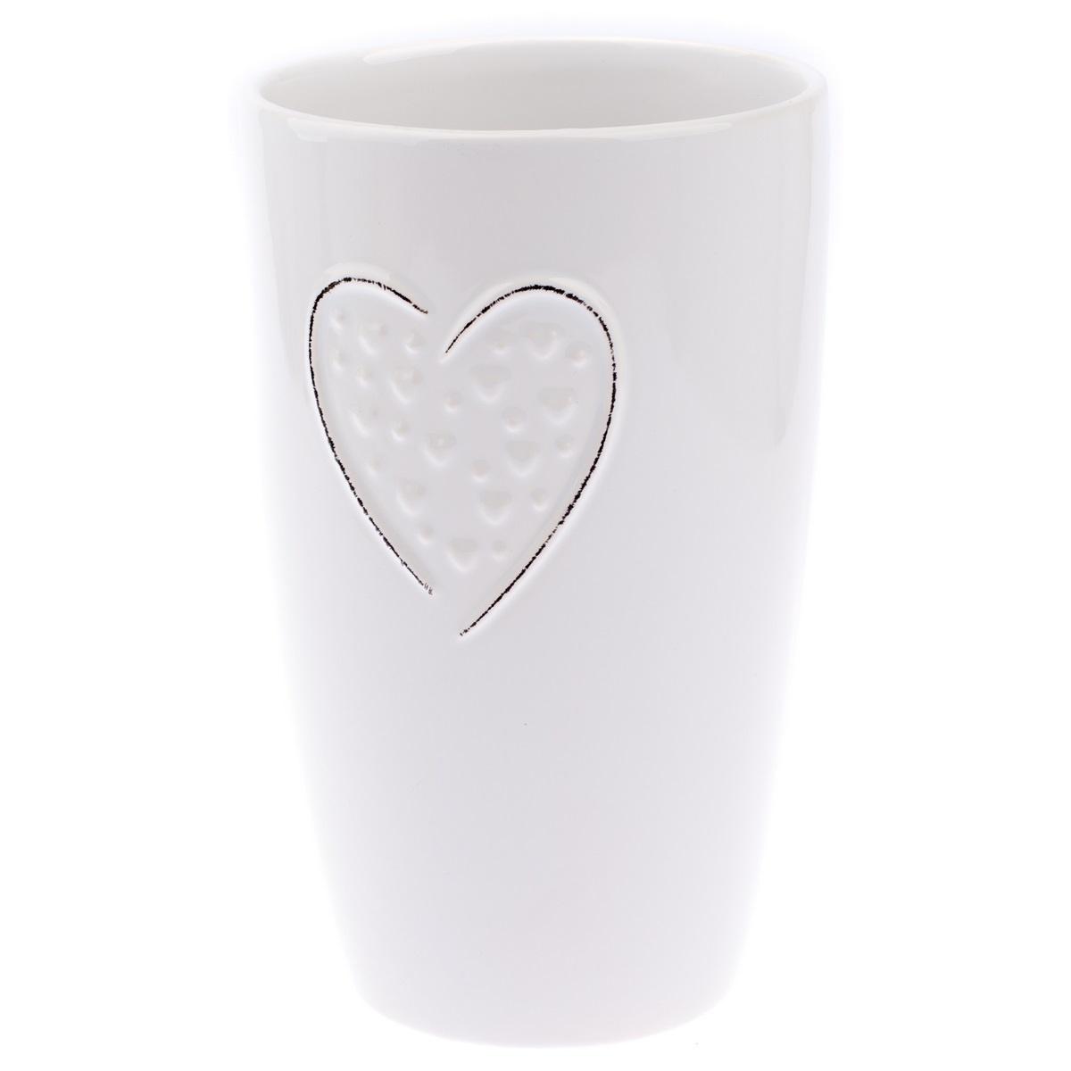 Keramická váza Little hearts bílá, 22 cm