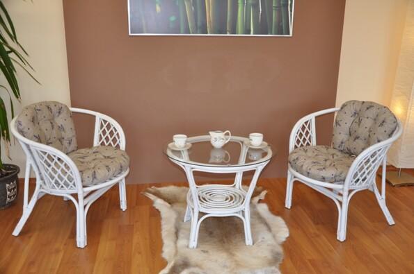 Ratanová sedací súprava Bahama levandule bílá