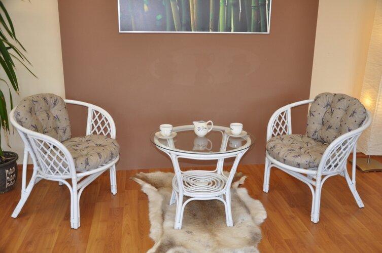 Ratanová sedacia súprava Bahama levanduľa biela, Axin Trading