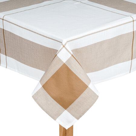 Față de masă bej cu carouri, 85 x 85 cm
