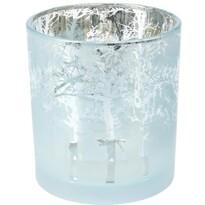 Świecznik na świeczkę tealight, Ośnieżony las, niebieski 7 x 8 cm