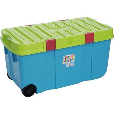 Wham Box s víkem a kolečky 100 l modrý