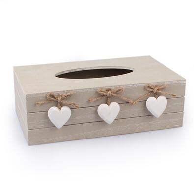 Krabička na kapesníčky se srdíčky, přírodná