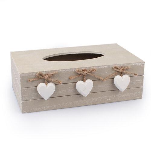 Krabička na vreckovky so srdiečkami, prírodná, Dakls