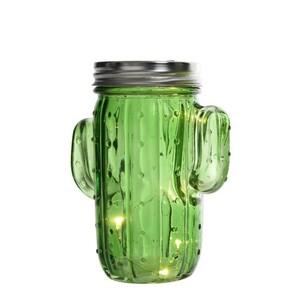 LED dekorace Kaktus tmavě zelená, 14,5 cm