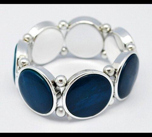 Elastický dámský náramek modrý