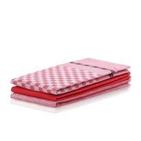 DecoKing Ścierka kuchenna Louie czerwony, 50 x 70 cm, komplet 3 szt.