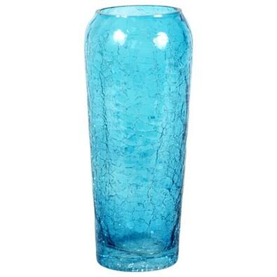 Váza skleněná modrá 8 x 19 cm