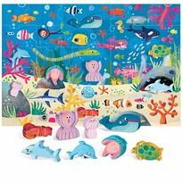 Headu Puzzle Mořský svět s 8 dřevěnými vkládacími figurkami (Montessori)
