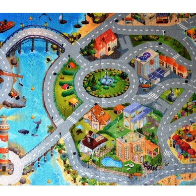 Dětský koberec Ultra Soft Město, 130 x 180 cm