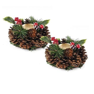 Vianočný svietnik so šiškou, sada 2 ks