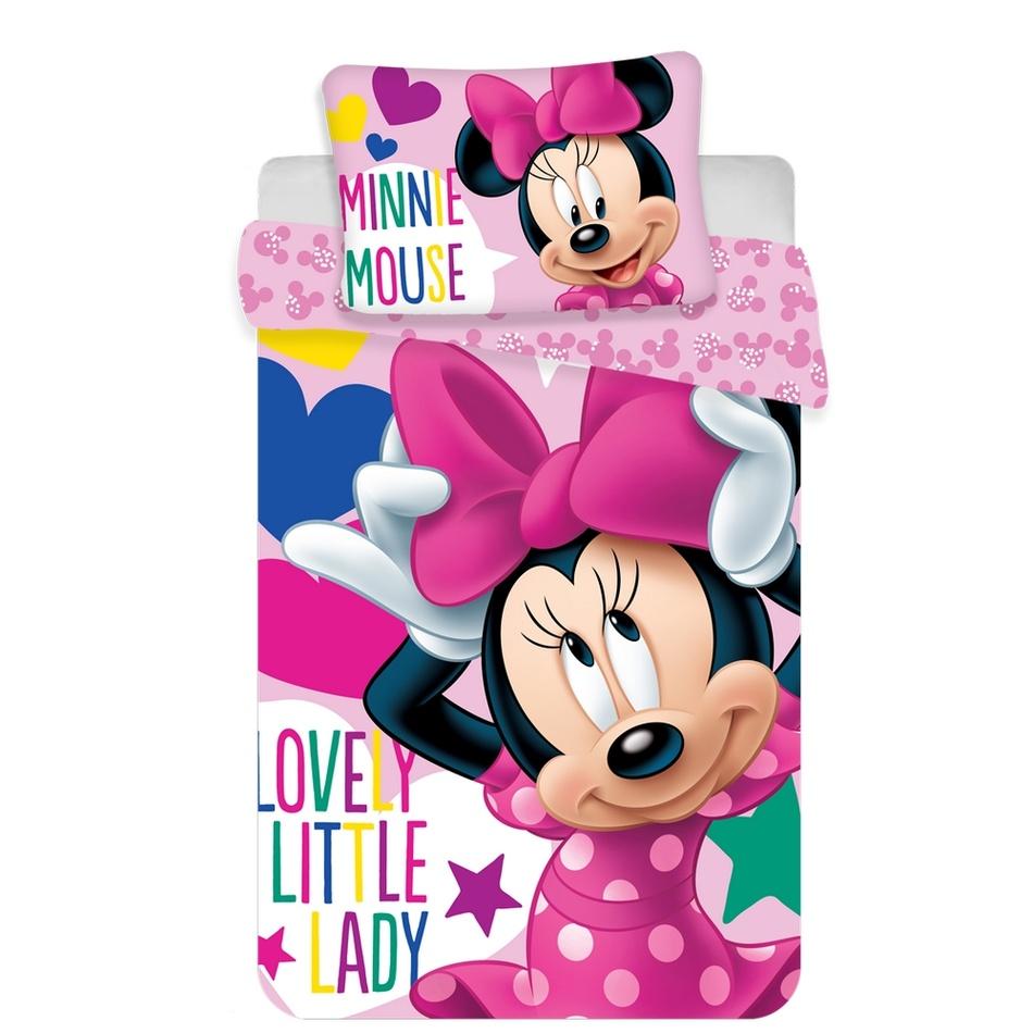 Jerry Fabrics Dětské bavlněné povlečení do postýlky Minnie baby pink, 100 x 135 cm, 40 x 60 cm