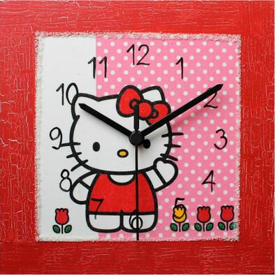 Nástěnné hodiny Hello Kitty v červeném