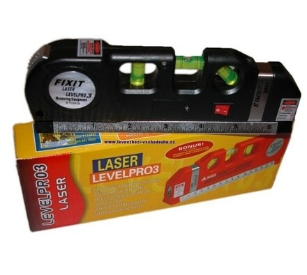 Vodováha laserová, Level Pro3, černá