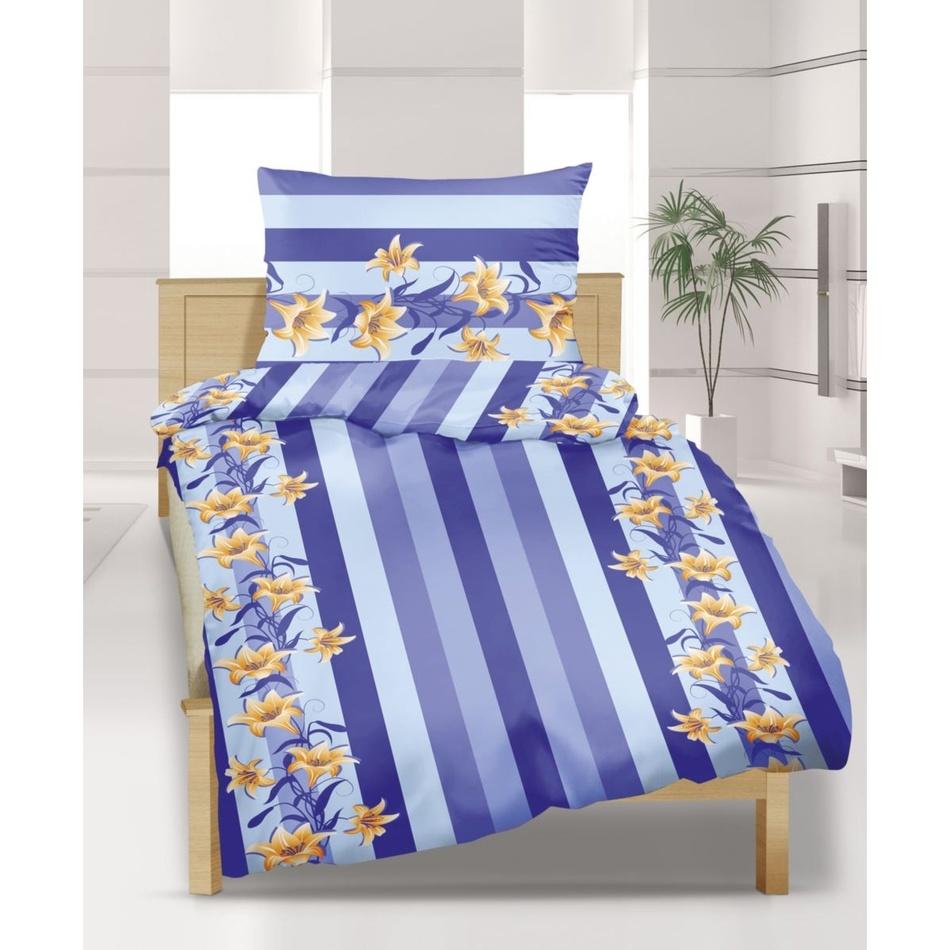 Bellatex Flanelové obliečky Ľalie modrá, 140 x 220 cm, 70 x 90 cm