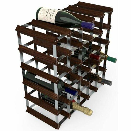 Stojan na víno RTA na 30 fliaš, tmavá borovica - pozinkovaná oceľ / rozložený