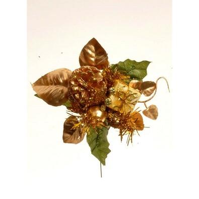 Umělá dekorace šiška, v. 17 cm, zlatá, sada 3 ks, zlatá