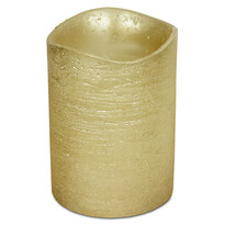 Lumânare LED învelită în ceară, 7,6 x 10 cm, auriu