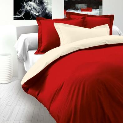 Saténové povlečení Luxury Collection červená / smetanová, 220 x 200 cm, 2 ks 70 x 90 cm