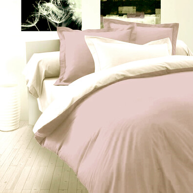 Saténové povlečení Luxury Collection světle fialová / bílá, 220 x 200 cm, 2 ks 70 x 90 cm