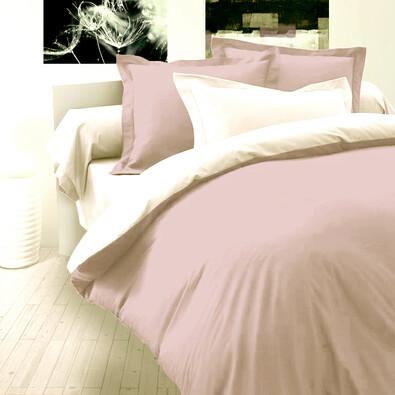 Saténové povlečení Luxury Collection světle fialová / bílá, 220 x 220 cm, 2 ks 70 x 90 cm