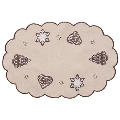 Faţă de masă crăciun Turtă dulce bej, 30 x 45 cm