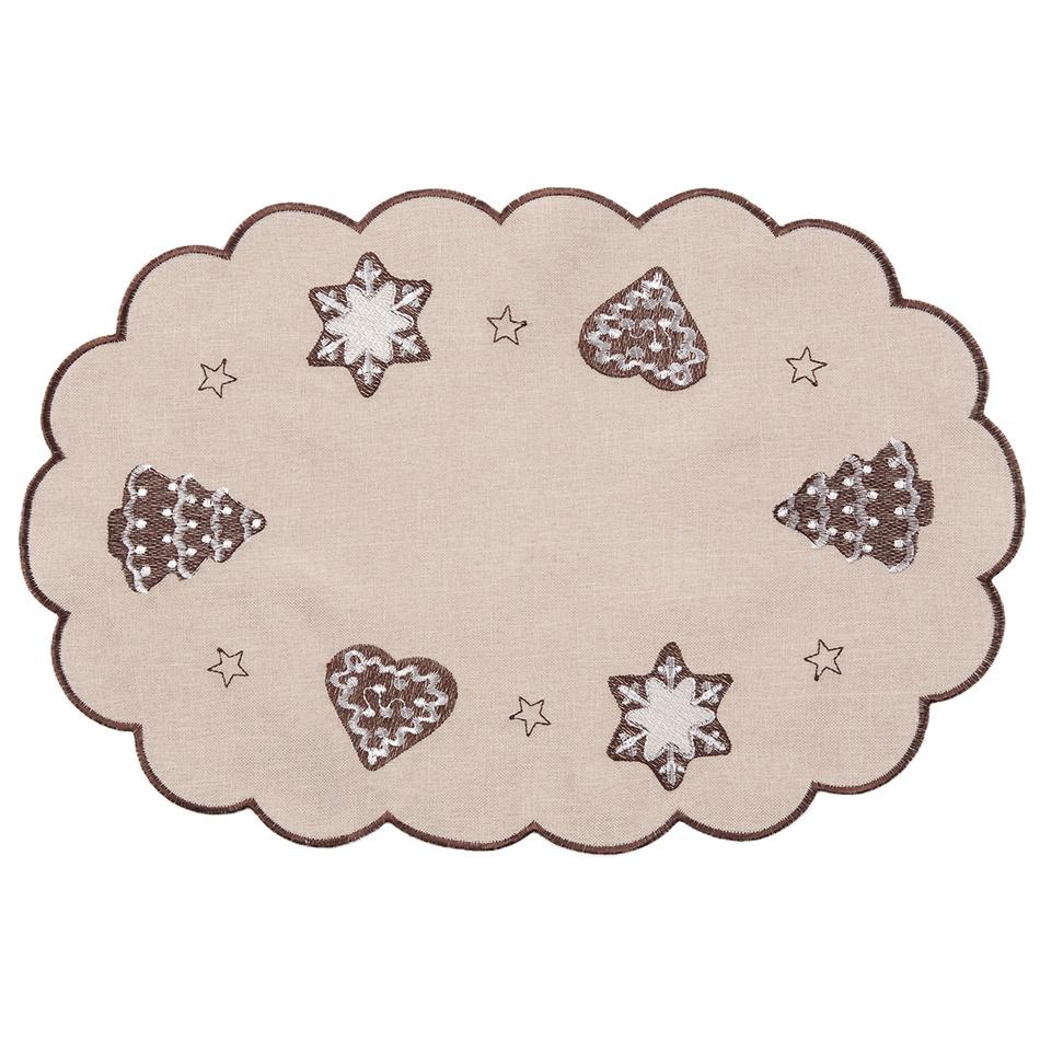 Forbyt Vánoční ubrus Perníčky béžová, 30 x 45 cm, 30 x 45 cm