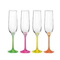 Crystalex Set 4 pahare pentru șampanie neON, 190 ml