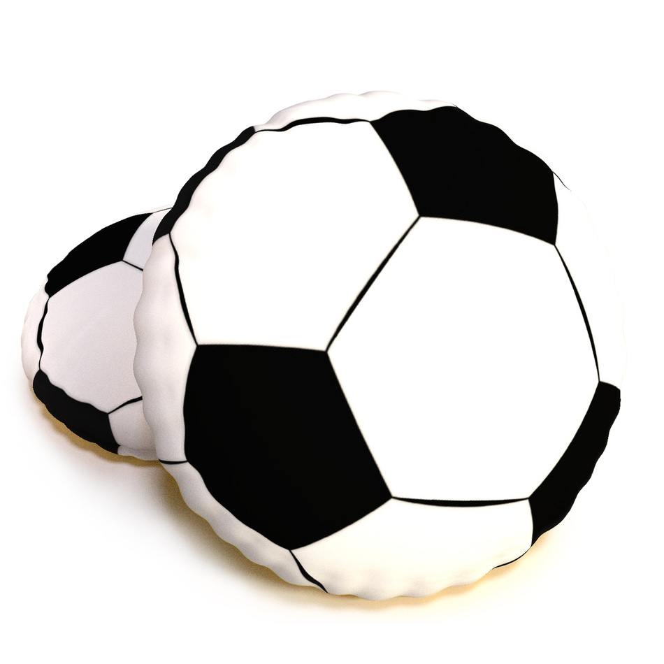 TipTrade Tvarovaný 3D vankúšik Futbalová lopta Kopačák, 40 cm