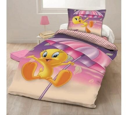 Dětské bavlněné povlečení Looney Tunes Tweety, 140 x 200 cm, 70 x 90 cm