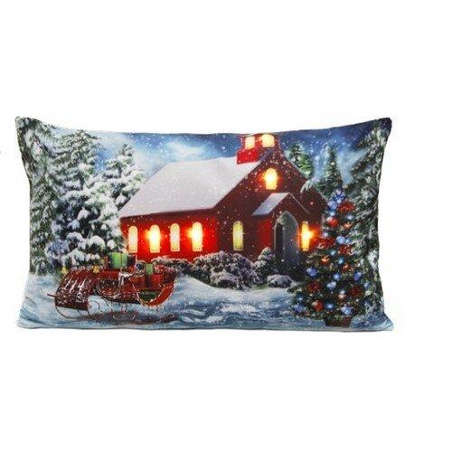 Domarex Vianočný svietiaci vankúšik s LED svetielkami Štedrý deň, 30 x 50 cm