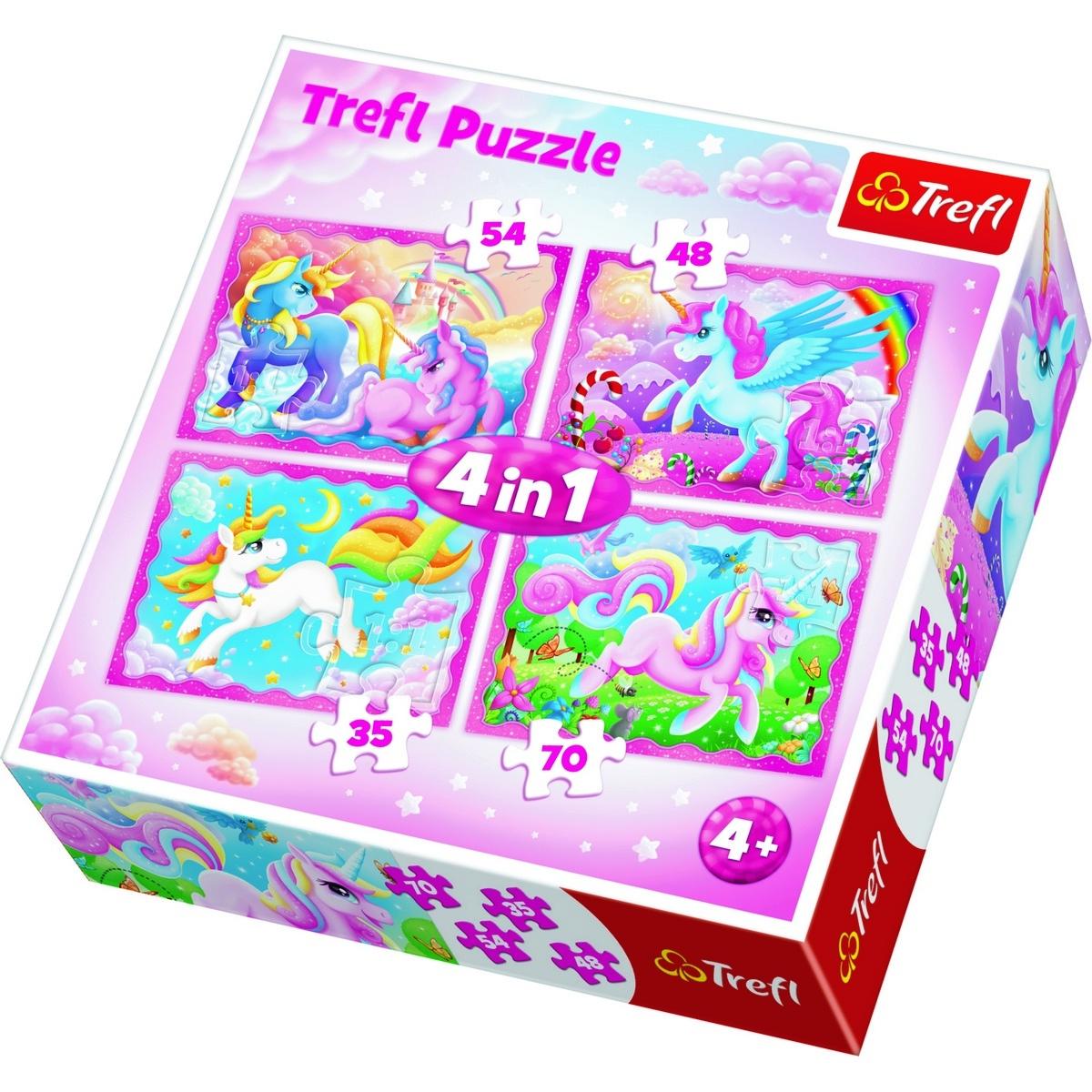 Trefl Puzzle Jednorožci 4v1 (35,48,54,70 dílků)