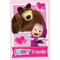 Pătură Jerry Fabrics Masha și Ursul Friends, 100 x 150 cm