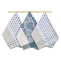 Prosop de bucătărie, dungi, gri-albastru, 50 x 70 cm, set 3 buc.