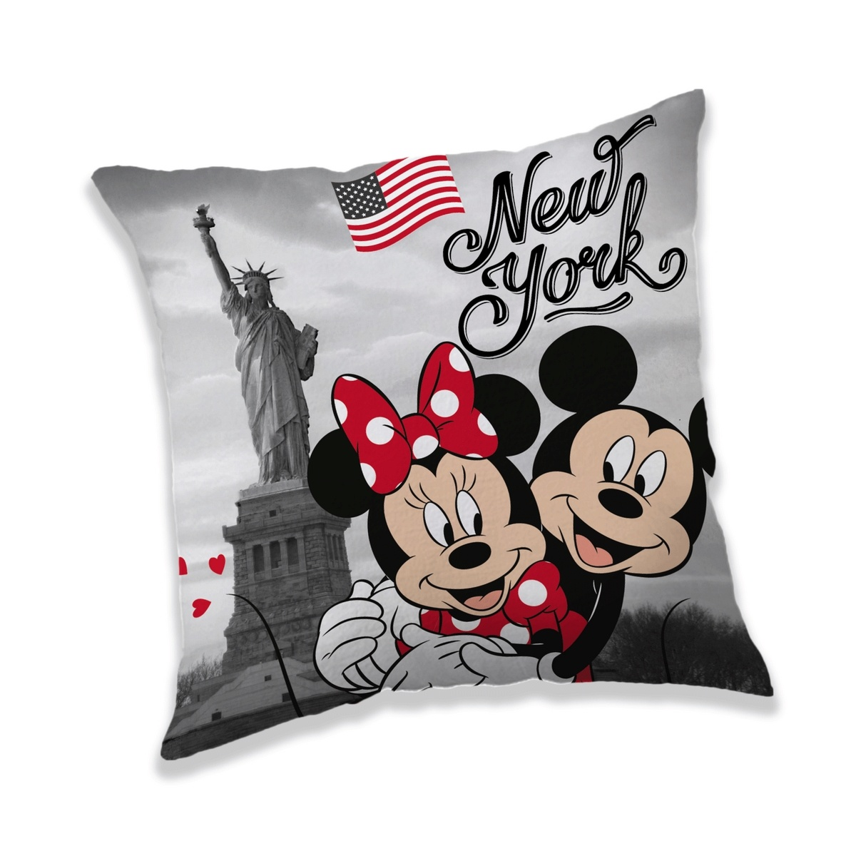 Jerry Fabrics Vankúšik Mickey a Minnie in New York, 40 x 40 cm