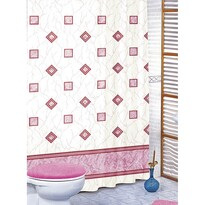 Sprchový záves Štvorce ružová, 180 x 200 cm