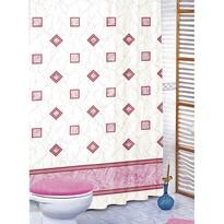 Zasłona prysznicowa Kwadraty różowy, 180 x 200 cm