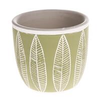 Ceramiczna osłonka na doniczkę Liście, zielony, 10,5 x 10 x 10,5 cm