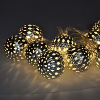 Solight Svetelná LED reťaz s 10 striebornými guľami, 1 m, studená biela