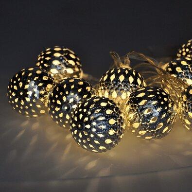 Solight Světelný LED řetěz s 10 stříbrnými koulemi, 1 m, studená bílá