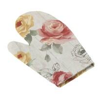Rękawica kuchenna Ema Róże na drewnie, 28 x 18 cm