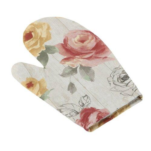 Chňapka Ema Růže na dřevě, 28 x 18 cm